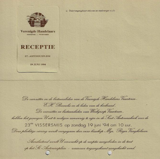 Uitnodiging Vissersmis 1994